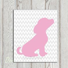 Dog printable Pink Gray Nursery puppy print Grey Chevron Little girls bedroom decor Gift idea Puppy wall art Silhouette wall decor Download