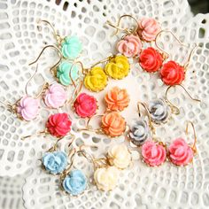 Five Bridesmaids Little Roses Dangle Earrings by NestPrettyBrides, $60.00