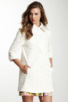 Tahari Outerwear Misty Crochet Coat @Marcia Santomé this is what we need on Saturday