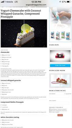 Yogourt cheesecake with coconut ganache. Bakery Recipes, Chef Recipes, Cooking Recipes, Cheesecake Recipes, Dessert Recipes, Patisserie Fine, Cake Recept, Pastry Art, Fancy Desserts