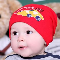 284ab198444 cartoon automobile baby beanie kids Toddler pocket warm hats for spring  autumn