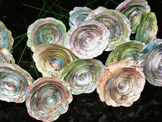 25 spiral 2 paper map roses flowers made from by HBixbyArtworks, $69.00