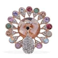 Champagne Glass, Multi Color Austrian Crystal Brooch in Goldtone TGW 0.002 cts.