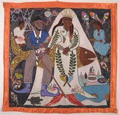 The Wedding of Agoue and La Sirene, ca 2009, vodou banner, sequins and beads on fabric, Evelyne Alcide, Port-au-Prince, Haiti