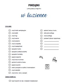 niebieska_lista_lazienka_perfekcyjnawdomu Cleaning Checklist, Cleaning Hacks, Organization Bullet Journal, Minimal Living, Home Organisation, Brain Dump, Cleaning Business, Bullet Journal Inspiration, Better Life