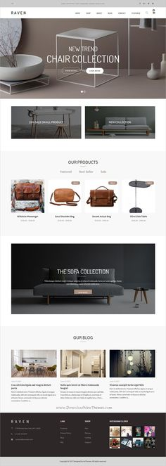 Raven is clean and modern #design responsive #WooCommerce #WordPress theme for furniture, fashion or handmade shop eCommerce website with blog download now..