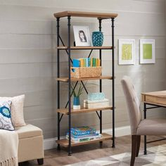 Better Homes and Gardens River Crest 5-Shelf Bookcase, Rustic Oak Finish, Brown