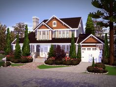 "sssvitlans: "" Created By Oakwood - NO CC! Created for: The Sims 4 Oakwood is a craftsman style home built on a residential lot. This house features 5 bedrooms and 4 baths. Sims 4 Family House, Sims 2 House, Sims 4 House Plans, Sims 4 House Building, Sims 4 House Design, Sims 4 Houses Layout, House Layouts, Lotes The Sims 4, Sims Cc"