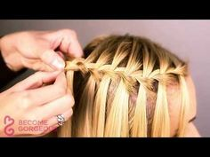 Waterfall Braid Tutorial - Become Gorgeous - YouTube I want to try this on the granddaughters!