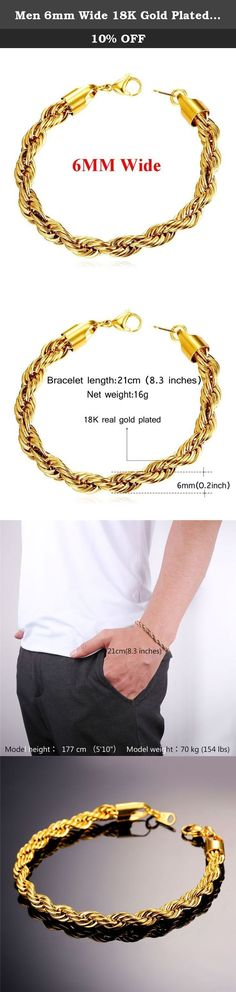 """Men 6mm Wide 18K Gold Plated Cool Twisted Rope Chain Bracelet. Product details Twisted rope chain,width option:3mm,6mm,9mm. Bracelet length:8.3 inches. Metal: 18K Gold Plated/stainless steel/black gun plated Style:Cute/trendy stainless steel, also known as inox steel or inox from French """"inoxydable"""", is a steel alloy with a minimum of 10.5% chromium content by mass. Brand name: U7 """"U7"""" means love you seven days for a week. U7 Jewelry is fashion jewelry seller in Amazon. U7 Jewelry is made..."""