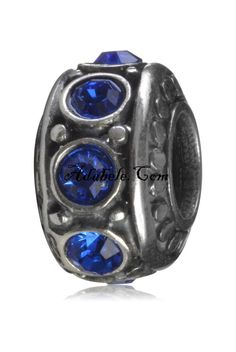 This beautiful sapphire September birthstone .925 Sterling Silver European charm fits Pandora, Biagi Trollbeads, Chamilia, and most charm bracelets find out more at adabele.com