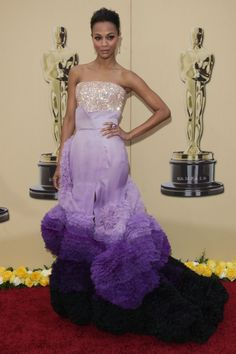 zoe saldana fashions | Zoe Saldana wearing a multi-shaded purple gown while attending the ...