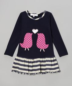 Take a look at this Navy & White Kissing Birds Drop-Waist Dress - Toddler & Girls on zulily today!