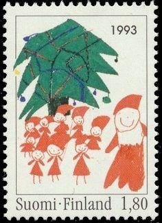 Joulupostimerkki 1993 1/2 - Joulupuu ja tontut