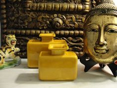 Pair of  VIntage Haeger Asian Inspired Curry & Mustard Yellow Vases Mid Century