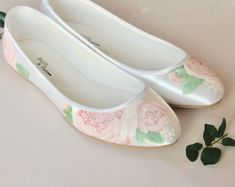 Handpainted pink peony flat satin wedding shoes. Designed and made by Elizabeth Rose London Satin Wedding Shoes, Pink Peonies, Hand Painted, Flats, Rose, Loafers & Slip Ons, Pink, Roses, Ballerinas
