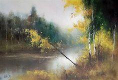 Indian River Lagoon, Art Oil, Landscape Art, Bunt, Watercolor Art, Pastel, Fantasy, Fine Art, Drawings