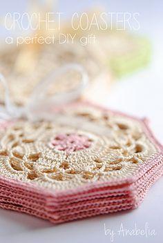 Anabelia craft design: Crochet coasters sets, a perfect DIY gift Crochet Coaster Pattern, Crochet Motifs, Crochet Blocks, Crochet Squares, Thread Crochet, Crochet Doilies, Crochet Patterns, Doily Patterns, Design Patterns