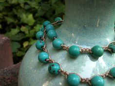 PoPuLaR TURQUOISE beaded necklace FREE shipping in by wandandwear, $21.95