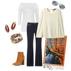 Etcetera | Holiday 2015: Easy Autumn. PIAZZA ivory capelet, EGGSHELL tee, RUNWAY denim jean. www.etcetera.com.
