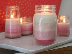 Valentine's Day Craft Idea: DIY Ombre Candles >> http://www.diynetwork.com/made-and-remade/make-it/things-we-love--learn-how-to-make-these-ombre-valentine-s-candle?soc=pinterest