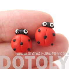 Ladybug Insect Bug Themed Polymer Clay Stud Earrings with Plastic Posts | DOTOLY