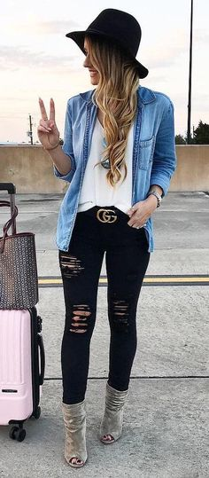 #winter #fashion /  Black Hat + Denim Shirt + White Silk Top