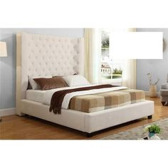 Masoni Cream Upholstered High Profile Bed