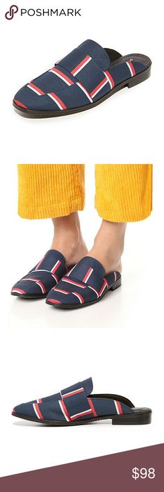 Free People Brocade At Ease Loafers Bright stripes add nautical style to these easy, slip-on Free People loafers. Lightly padded footbed and low, stacked heel. Synthetic sole.  Fabric: Canvas. Made in Spain. Heel: 0.5in / 13mm Free People Shoes Flats & Loafers