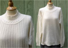 Plus Size 1990s Vintage Womans Off White by HiddenTreasureHunter, $22.00