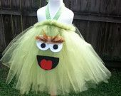 Cookie Monster Inspired Tutu Dress Costume for dress up or playtime or parades or pageants MADE to ORDER. $30.00, via Etsy.