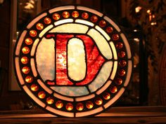 Letter D Made of Red and Blue Antique Leaded Stained Glass with 31 Amber Jewels. $250.00 - Old Portland Hardware & Architectural, Architectural Salvage in Portland, Oregon