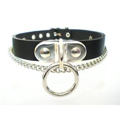 Black Leather Fetish BDSM Chained bondage Collar with bondage ring,... ($32) ❤ liked on Polyvore featuring jewelry, necklaces, collar, curb chain necklace, leather chain necklace, thick chain necklace, flexible necklace and leather jewelry