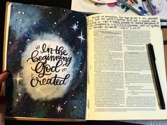 "14 Likes, 1 Comments - Bible Journaling Devotions (@bijodevo) on Instagram: """"In the beginning, God created..."" . At the beginning of everything, God created. He created…"""