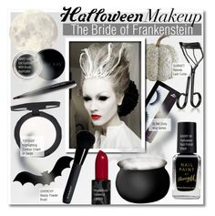 """""""The Bride of Frankenstein-Halloween Makeup"""" by kusja ❤ liked on Polyvore featuring beauty, BBrowBar, Mary Kay, Barry M, Topshop, Givenchy, Surratt, Halloween, Beauty and beautyproducts"""