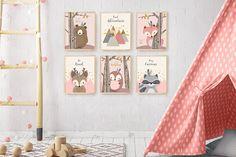 Woodland nursery, Neutral gender nursery, Pink mint nursery print set, Nursery print set of Nurse