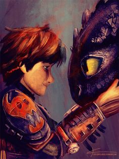 Fanart by apfelgriebs. Hiccup and Toothless from How to Train your Dragon 2.