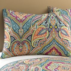 With a quilted design, the vibrant patterns of the Levtex Home Magnolia Bedding Collection add a striking look to any living space. Designed from a soft cotton fabric, this collection is machine washable for easy care. Paisley Bedding, Quilt Bedding, King Quilt Sets, Queen Quilt, Batik Pattern, King Pillows, Twin Quilt, Bohemian Design, Paisley Design