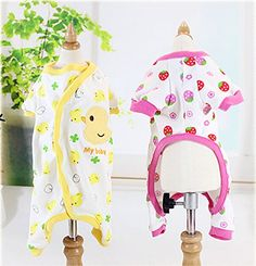 EverTrustTM Pet Clothes Small Pet Dog pink Strawberry and yellow Dusk Pajamas Jumpsuit Coat Cat Puppy Romper Apparel Clothing *** Continue to the product at the image link.Note:It is affiliate link to Amazon.