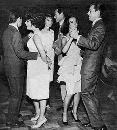 Hollywood date night, 60s style with Eddie Fisher & Elizabeth Taylor, Audrey Hepburn & Mel Ferrer, Natalie Wood & Robert Wagner.