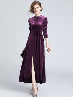Shop Elegant Stand Collar Long Sleeve Embroidered Lace Dress at EZPOPSY. Fall Collection, Dress Collection, Purple Fashion, Colorful Fashion, Chic Outfits, Fashion Outfits, Fall Outfits, Dresser, Robes Midi