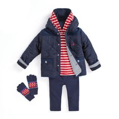 JoJo Maman Bebe little boy outfit idea, Red, Navy and White stripes and Bus Print Mittens. #outfit #kidsfashion #childrensfashion