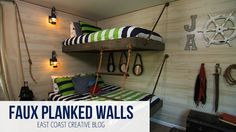DIY Faux Planked walls using paneling. Perfect for a nautical room or beach house!