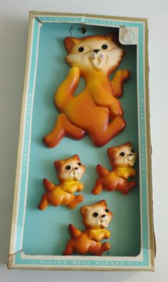 1970's  Chalk Cats Miller Wall Plaques in original box.