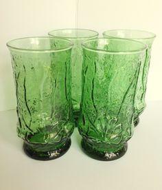 7b5de870fefb 4 Anchor Hocking RAIN FLOWER 16 Ounce Iced Tea Emerald GREEN Drinking  Glasses Vintage Glassware