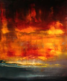 "Saatchi Online Artist: Maurice Sapiro; Oil 2013 Painting ""Red Sunset"""