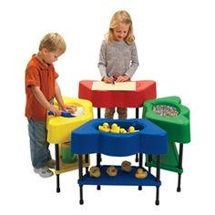 Angeles Corporation Four-Station Sensory Table https://www.schooloutfitters.com/catalog/product_info/pfam_id/PFAM33602/products_id/PRO44913