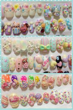 Kawaii Nail Art, Cute Nail Art, 3d Nail Art, Cute Acrylic Nails, 3d Nails, Nail Manicure, Swag Nails, Pastel Nails, Bling Nails