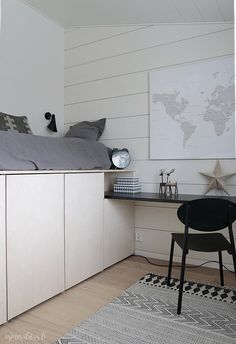 Room Design Bedroom, Modern Bedroom Design, Home Bedroom, Interior Design Living Room, Loft Bed Plans, Cool Kids Bedrooms, Appartement Design, Cool Bunk Beds, Teenage Room