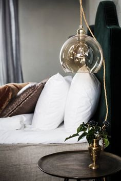 Bathroom of the Week: An Italian Bed and Bath at a Revamped Villa, Luxe Edition (Remodelista: Sourcebook for the Considered Home) Bedside Pendant Lights, Pendant Lighting Bedroom, Bedside Lighting, Pendant Lamps, Chandelier, Home Bedroom, Bedroom Decor, Bedroom Interiors, Master Bedrooms